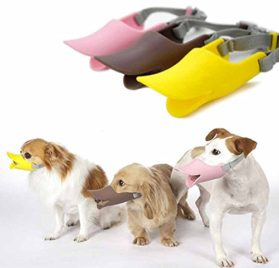 GigaMax(TM) 3 Sizes 3 Color Soft Silicone Dog Duck Muzzle Pet Protection Duckbilled Mask Respirator for Chihuahua Teddy Animal