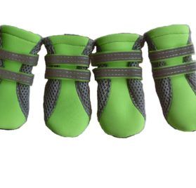 Lonsuneer Puppy Daily Soft Sole Nonslip Mesh Boots, with 2 Long and Safe Reflective Velcro Straps, Breathable and Cool, Inner Width 1.6 Inch, Set of 4, Bright Green