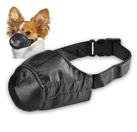 Pet Adjustable Dog Muzzle Fabric Nylon Comfortable Soft No Bark Bite Chew Black