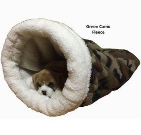 Pet Bed, Snuggle Den, X Small (up to a 5lb. pet), Green Camo Fleece