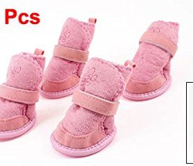 Pink Nonslip Sole Velcro Booties Pug Dog Chihuahua Shoes Boots 2 Pair XXS 2