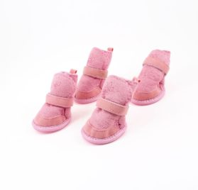 Pink Nonslip Sole Velcro Booties Pug Dog Chihuahua Shoes Boots 2 Pair XXS