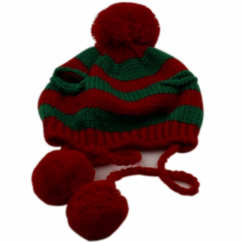 Knitting Pattern For Small Dog Hat : Sweet Green Red Knitting Cat Hat Small Dog Hat Rabbit Pet Costume