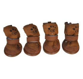 TOOGOO(R) Brown Hook Loop Closure Booties Pet Dog Chihuahua Shoes Boots 2 Pair S
