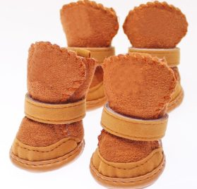 Zeroyoyo Cool Pet Dog Accessories Small Dogs Chihuahua Boots Winter Warm Puppy Brown Shoes Set of 4 2