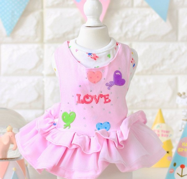 Adorable LOVE Dog Dress Skirt Pet Clothes Chihuahua Yorkshire Coat Apparel e256