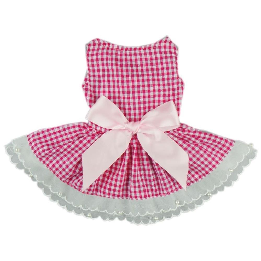 Fitwarm® Casual Pink Plaid Ribbon Pet Clothes Dog Dress