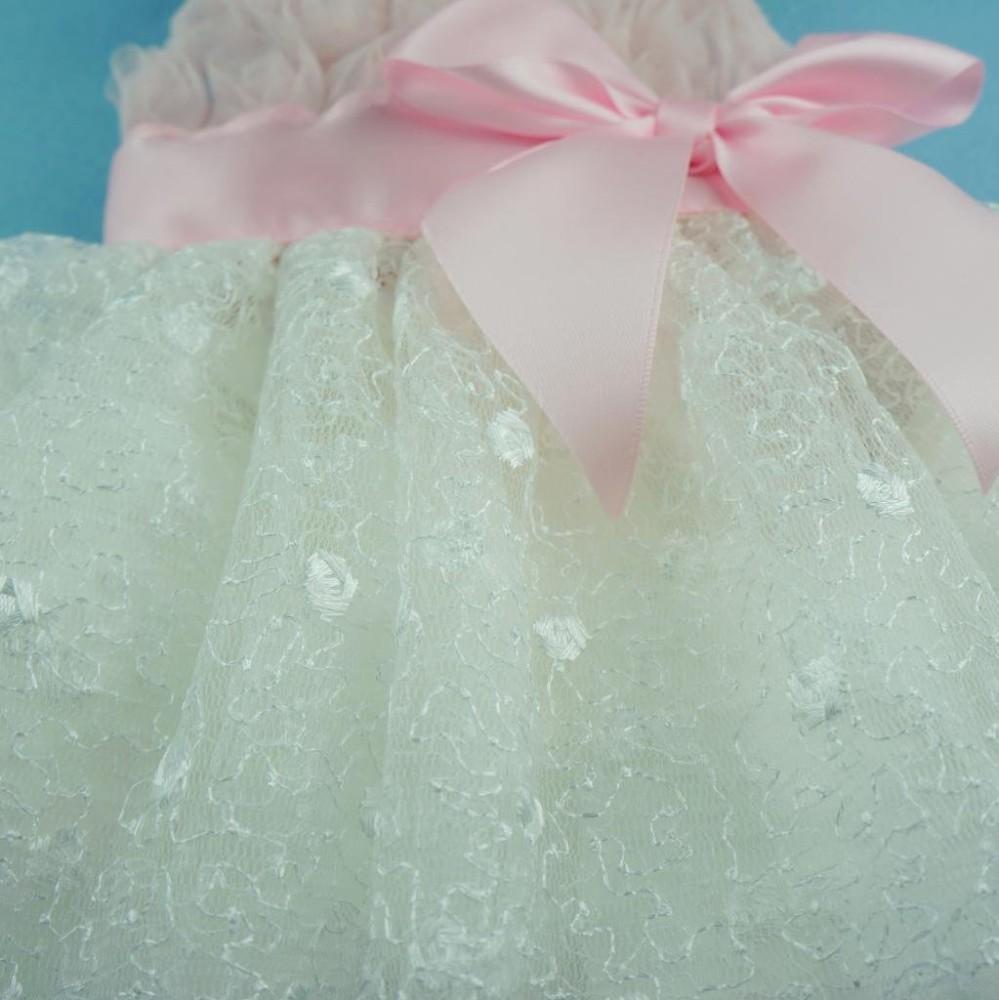 Fitwarm® Pink Rose Lace Pet Dog Wedding Dress Bride Formal Clothes