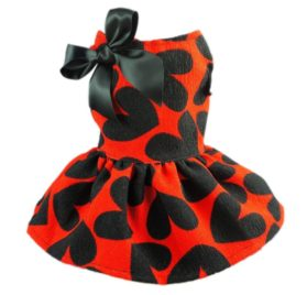 Fitwarm Adorable Sweat Heart Ribbon Pet Dog Dress Clothes Shirts, Red