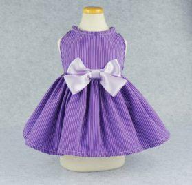 Fitwarm Elegant Dog Dress Pet Clothes Striped Shirts Cat Apparel, Purple 2