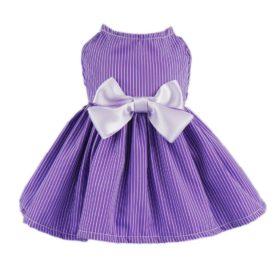 Fitwarm Elegant Dog Dress Pet Clothes Striped Shirts Cat Apparel, Purple