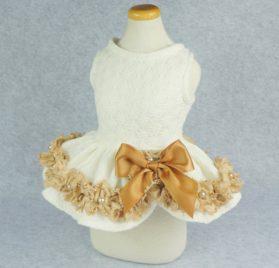 Fitwarm Elegant Lace Pet Clothes for Dog Dress Wedding Apparel Shirts, White 2