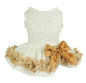 Fitwarm Elegant Lace Pet Clothes for Dog Dress Wedding Apparel Shirts, White