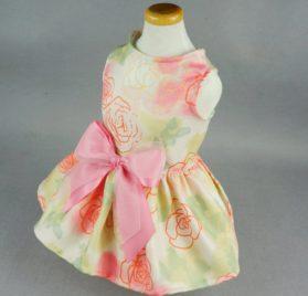 Fitwarm Elegant Rose Ribbon Pet Dress Sundress Shirts Vest Clothes - Pink 2