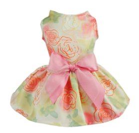 Fitwarm Elegant Rose Ribbon Pet Dress Sundress Shirts Vest Clothes - Pink