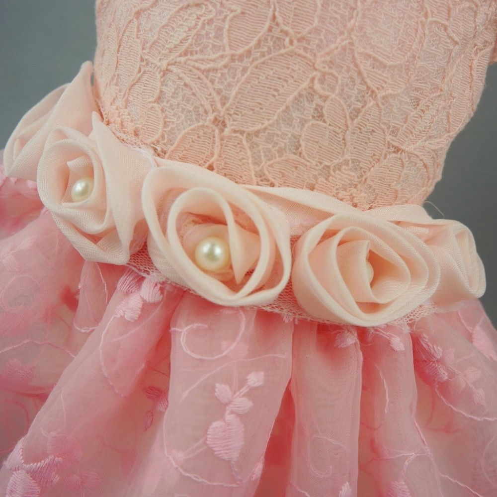 Fitwarm High Quality Pink Rose Pet Dog Wedding Dress Bride Clothes