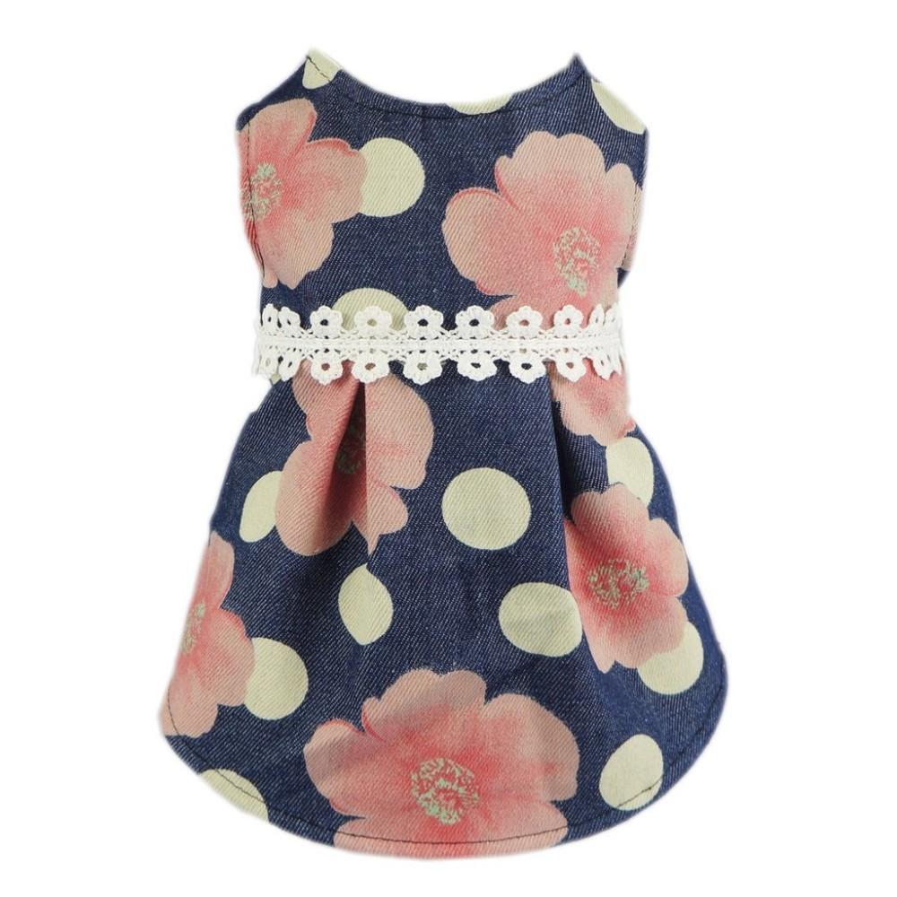 Fitwarm Sweetie Floral Denim Pet Clothes For Dog Dress