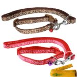 Adjustable Breakaway Cute Cat Dog Pet Collar and Leash Set with Bell for Cats Dogs Pets, 2 Pack