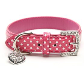 BINPET BA2028 Designer Polka Dots Leather Pet Puppy Dog Collar with Jeweled Heart Pendant Charms and Durable Metal Buckle