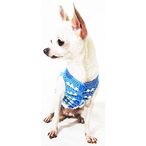 Puppy Designer Clothes | Blue Dog Clothes Handmade Crochet Unique Pet Clothing Chihuahua