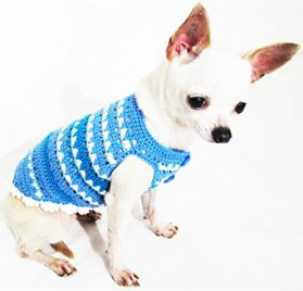 Blue Dog Clothes Handmade Crochet Unique Pet Clothing Chihuahua Puppy Sweater Designer Dk962 Myknitt - Free Shipping