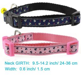 Cool Gentle Cat Kitten Dog Puppy Leading Leash and Collar Set Anchor Images for Cats Dogs Pets, 2 Pack 2