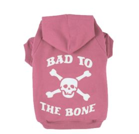 EXPAWLORER BAD TO THE BONE Printed Skull Cat Fleece Sweatershirt Dog Hoodies