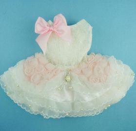 Fitwarm® High Quality Luxury Pink Rose Dog Wedding Dress Tutu Pet Bride Clothes Apparel 2