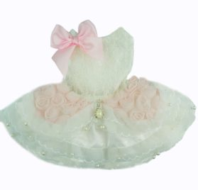 Fitwarm® High Quality Luxury Pink Rose Dog Wedding Dress Tutu Pet Bride Clothes Apparel