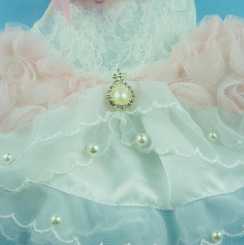 Fitwarm® High Quality Luxury Pink Rose Dog Wedding Dress