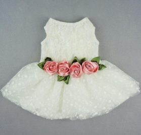 Fitwarm® High Quality Luxury Rose Lace Pet Dog Weddding Dress Bride Clothes Formal Apparel 2