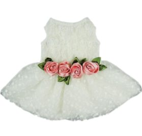 Fitwarm® High Quality Luxury Rose Lace Pet Dog Weddding Dress Bride Clothes Formal Apparel