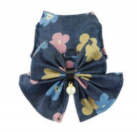 Fitwarm Fashion Denim Pet Clothes Dog Vest Harness D Ring Shirts, Blue