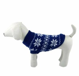 HP95(TM) Hot!Dog Clothes Pet Winter Snowflake Woolen Sweater Knitwear Puppy Warm High Collar Coat and Jacket 2