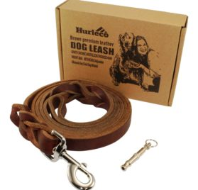 Hurleco Military Grade Leather Dog Training Leash Set - Brown