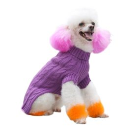 PetTa Purple Decent Turtleneck Cat Puppy Doggie Sweater