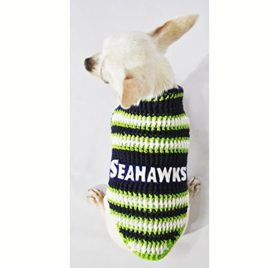 Seattle Seahawks Dog Clothes NFL Dog Jerseys Football Pet Costumes Puppy Sweaters Super Bowl Chihuahua Clothing Handmade Crochet Dk975 Myknitt - Free Shipping