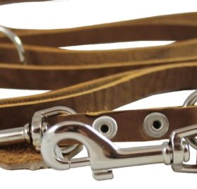 Tan 6 Way European Multifunctional Leather Dog Leash 2