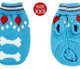 Uxcell Bone Pattern Pet Ribbed Cuff Knitwear Apparel Sweater, XX-Small, Blue 2