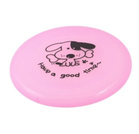 Uxcell Bone Print Pet Dog Cat Training Flyer Frisbee Toy, 20cm, Clear-Pink