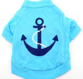 smalllee_lucky_store Blue Summer Tee T shirt small dogs clothes costume anchor XS