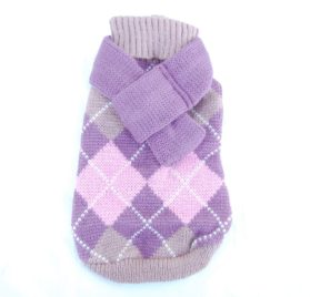Anima Pink Knit Argyle Sweater with Matching 14-Inch Scarf, X-Small