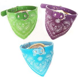 GigaMax(TM) New Adjustable Pet Collar Dog Cat Bandana Scarf Neckerchief Collars Customized Paisley Pattern Green Chihuahua Accessories