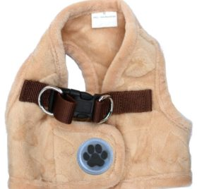 Lovely Heart Print Warm Fleece Pet Harness Vest Puppy Harnesses for Small Dogs Cats Kitten ,Small Beige