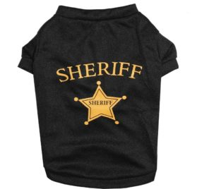 Ollypet Dog Tshirt Sheriff Print Balck Shirt for Small Pets Vest