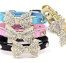 PANPET Bling Rhinestone Pet Cat Dog Bow Tie Collar Necklace Jewelry for Small or Medium Dogs 2