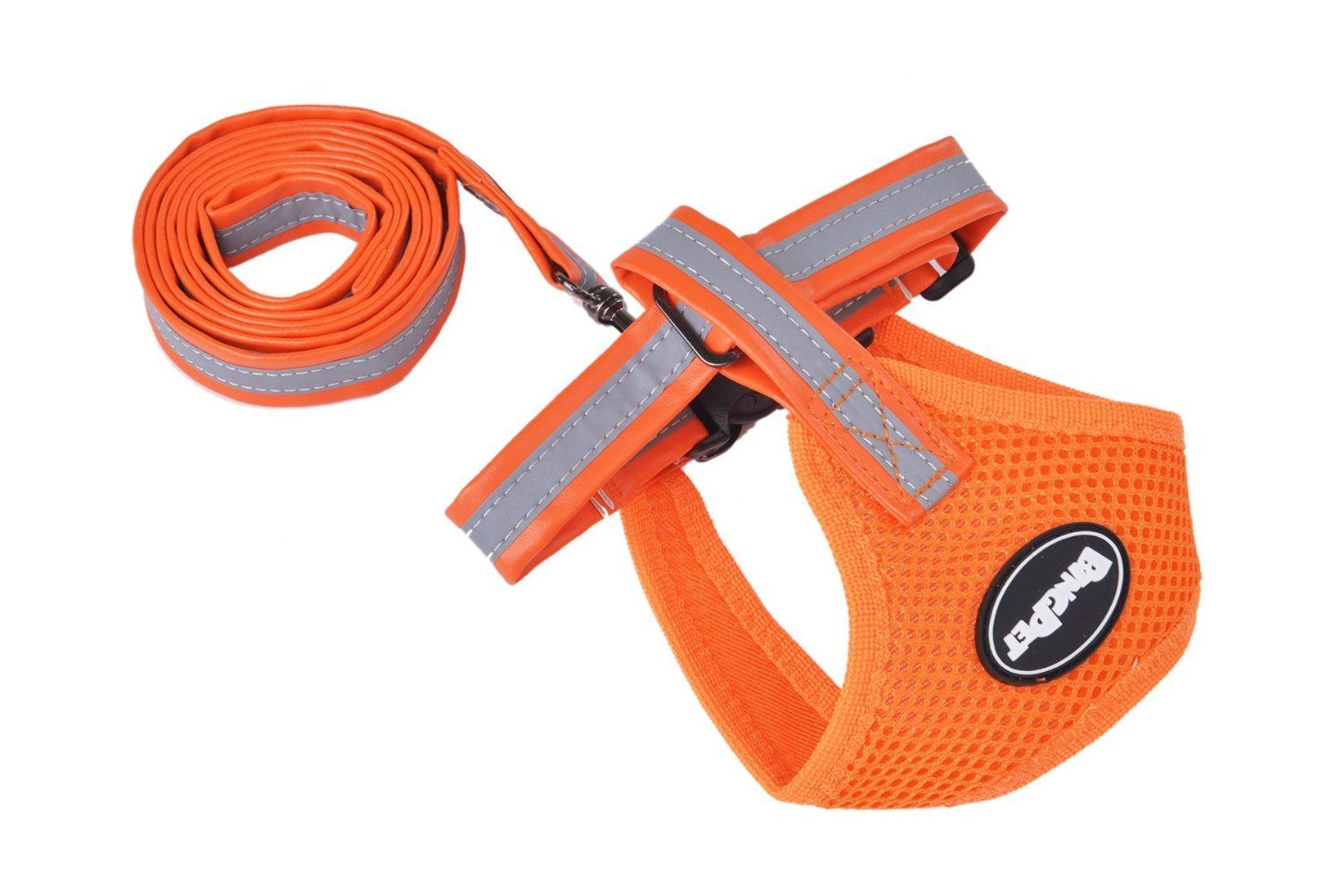 PUPTECK Mesh Soft Pet Dog Harness and Leather Leash Set