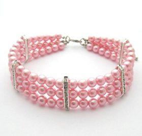 PetFavorites(TM) Couture Designer Fancy 3 Row Pearls Diamond Pet Cat Dog Necklace Collar Jewelry