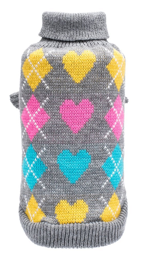 Small Dog Argyle Sweater Cute Winter Pets Clothes