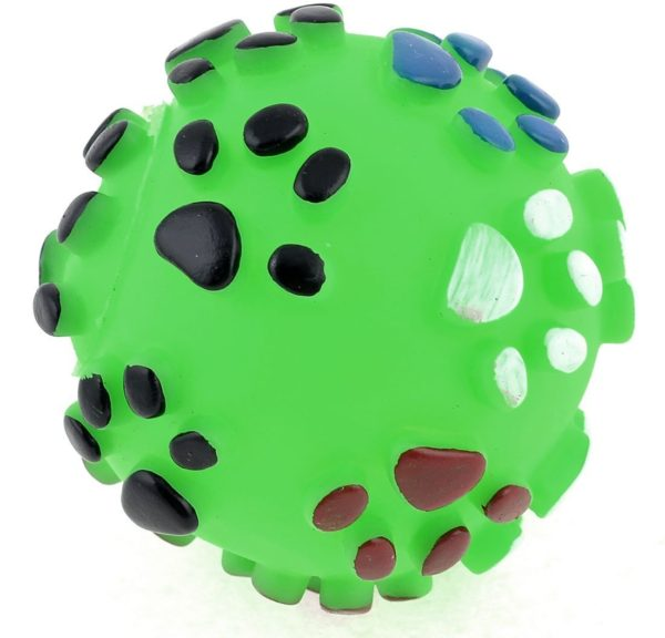 Uxcell Paw Pattern Round Ball Shape Rubber Pet Dog Chihuahua Squeaky Toy, Green